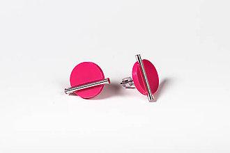 Náušnice - Minimal- náušnice (Ružová) - 11590441_