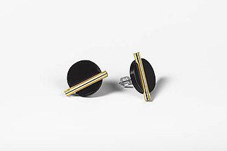 Náušnice - Minimal- náušnice (Čierna/Zlatá) - 11590499_