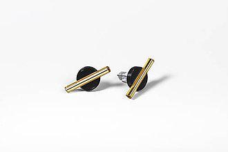 Náušnice - Mini-náušnice (Čierna/ Zlatá) - 11590539_