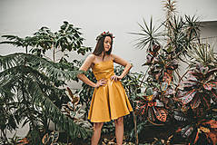 Šaty - CHARA ľanovo-bavnené žlté šaty - 11588687_