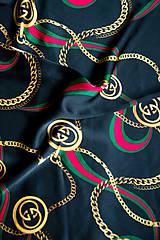 Šatky - Hodvábna štvorcová šatka s potlačou čierna - 11588309_