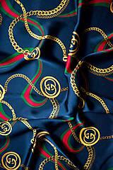 Šatky - Hodvábna štvorcová šatka s potlačou modrá - 11588341_