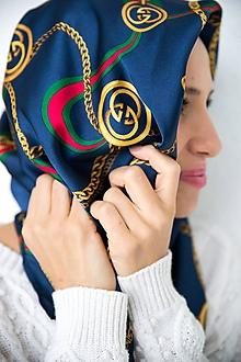 Šatky - Hodvábna štvorcová šatka s potlačou modrá - 11588345_