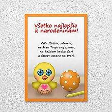 Papiernictvo - Detská izba - pohľadnica pre deti (vtáčik) - 11590395_