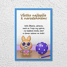 Papiernictvo - Detská izba - pohľadnica pre deti (zajačik) - 11590399_