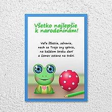 Papiernictvo - Detská izba - pohľadnica pre deti (žabka) - 11590400_
