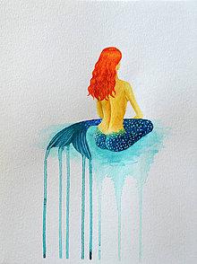 Obrazy - Morská panna - maľba akvarelom - 11591336_