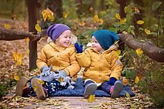 Detské čiapky - Merino čiapka padavá srdiečková - 11594573_