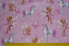 Textil - Víly a jednorožce na ružovej úplet digi - 11591154_