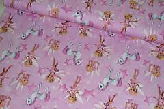 Textil - Víly a jednorožce na ružovej úplet digi - 11591160_