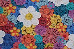 Textil - Hačkované kvety úplet digi - 11591263_