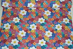 Textil - Hačkované kvety úplet digi - 11591266_