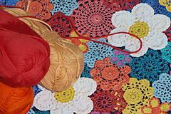 Textil - Hačkované kvety úplet digi - 11591273_