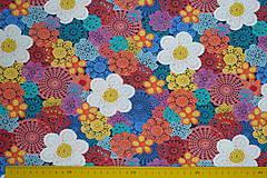 Textil - Hačkované kvety úplet digi - 11591278_