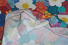 Textil - Hačkované kvety úplet digi - 11591279_