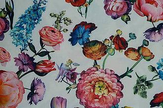 Textil - Rozkvitnutá záhrada úplet digi - 11591242_