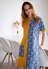 - Úpletové šaty s vreckom modrá horčica - 11592150_