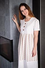 - Ľanové šaty smotanové - 11592173_