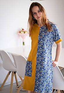 Šaty - Úpletové šaty s vreckom modrá horčica - 11592150_