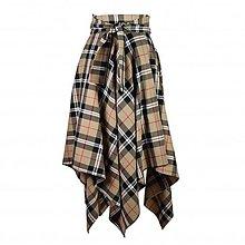 Sukne - NESSA - cípová károvaná zavinovacia sukňa s viazačkou (A3 - béžové káro) - 11594534_