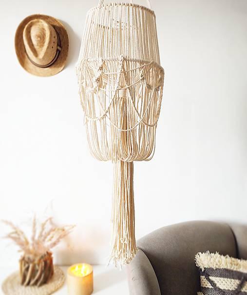 Svietidlá a sviečky - Makramé tienidlo na lampu DRAPES - 11593886_