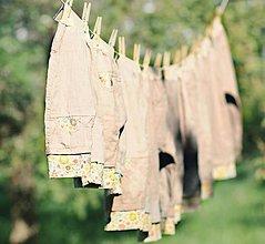 Detské oblečenie - Lněné kapsičkové Béžové - 11592575_
