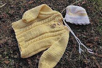 Detské oblečenie - novorodenecký set svetrík a čiapka-bambus - 11594021_