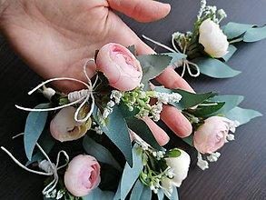 Pierka - Sada greenery-pinky svadobných pierok 6 ks - 11592788_