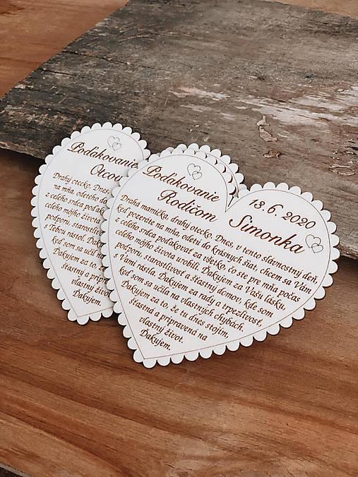 Svadobné srdce 3 - Poďakovanie rodičom, malé