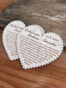 Tabuľky - Svadobné srdce 3 - Poďakovanie rodičom, malé - 11595043_