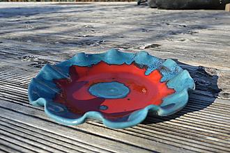 Nádoby - Misa vlnková modro-červená - 11597471_