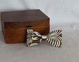 Doplnky - Pánsky motýlik (Bielohnedá) - 11598151_