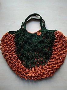 Nákupné tašky - Sieťovka zeleno škoricová - 11597042_