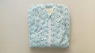 Textil - Vlnienka Spací vak pre deti a bábätká ZIMNÝ 100% MERINO S/M /L /XL /XXL /XXXL Panda mint - 11594762_
