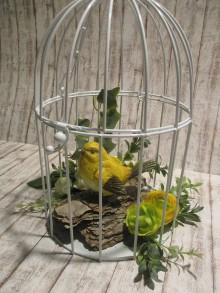 Dekorácie - Vtáčik v klietke - 11597538_