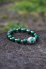 Náramky - Folklórny náramok zelený - 11597626_