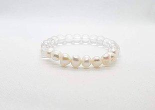 Náramky - Ochranný náramok z pravých riečnych perál s krištáľom - 11595891_