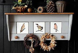 Nábytok - Vešiak-o-polica sivá s vtáčikmi - 11596816_