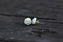 Náušnice - Biela ružička - 11595231_