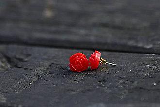 Náušnice - Červené ružičky - 11595213_