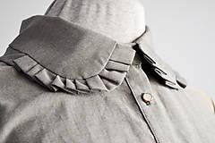 Šaty - Košeľové šaty s dekorovaným golierikom - 11597722_