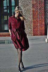 Šaty - Košilové šaty SARA, bordó - 11601261_