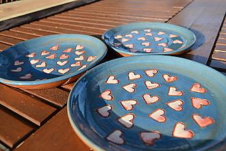 Nádoby - Tanierik modrý srdiečkový - 11600081_