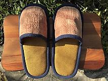 Obuv - Hnedé papuče s modrým lemom - 11600290_