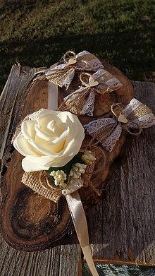 Náramky - Kvetinový náramok pre družičku vintage - juta  - 11600697_