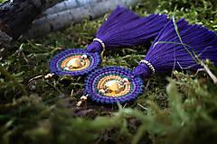 - Náušnice makramé - Vesna (fialové strapcové) - 11599753_