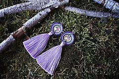 - Náušnice makramé - Vesna (fialovo-žlté strapcové) - 11599815_