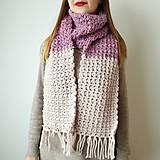 Šály - Ružovo-fialový vlnený šál - 11600872_