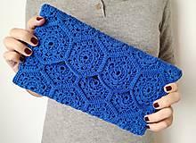 Kabelky - Modrá listová kabelka - šesťuholníková - 11600947_