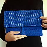 Kabelky - Modrá listová kabelka - 11601129_